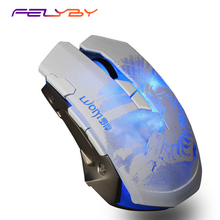 FELYBY G7 Aluminum Alloy Usb Gaming wired Optical Mouse for Computer 3200DPI 8 Buttons 6 LED Breathing Light