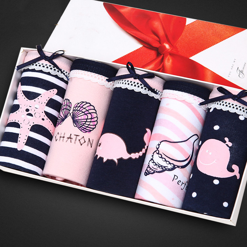 Feilibin 5Pcs/lot Panties Women Underwear Cotton Comfort Seamless Girls Lovely Print Briefs Breathable Women Lingerie Underwear