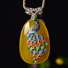 Natural Chalcedony Phoenix Pendant Necklace Drop Shipping Retro 925 Silver Lucky Amulet Lovers For Men And Women