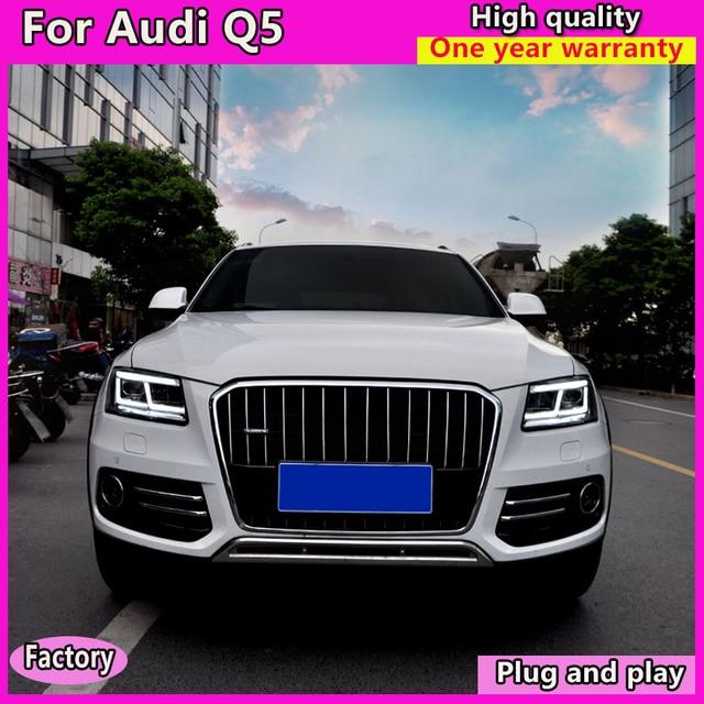 سيارة التصميم لأودي Q5 المصابيح الأمامية 2009 2012 2013 2018 أودي Q5 السيارات LED العلوي DRL عدسة مزدوجة شعاع ثنائية LED عدسة سيارة العلوي