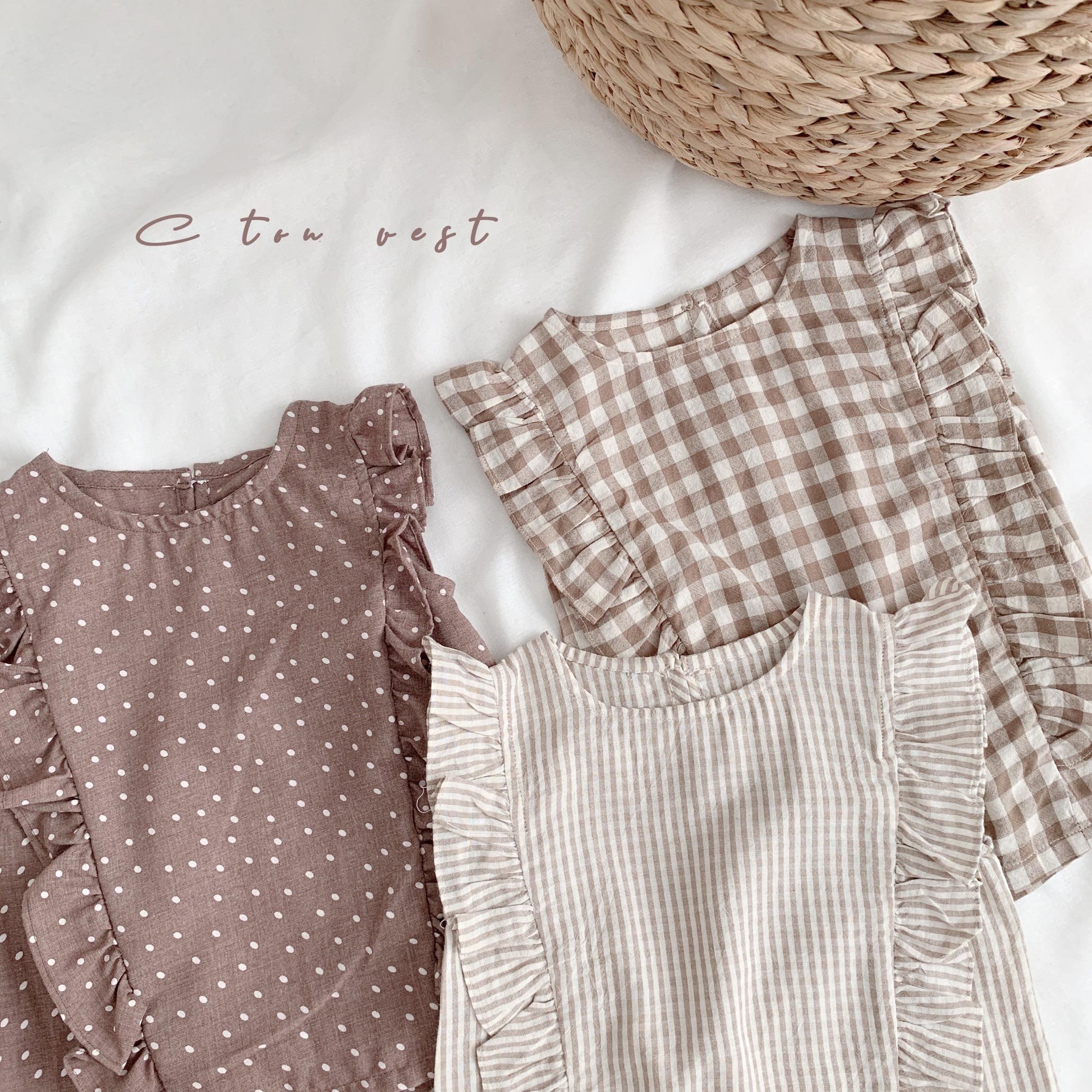 Children Summer Wear Clothing 2019 New Girl's Vest T-shirt Baby Flying Sleeveless Doll Shirt Soft Comfortable Plaid Girl Blouses