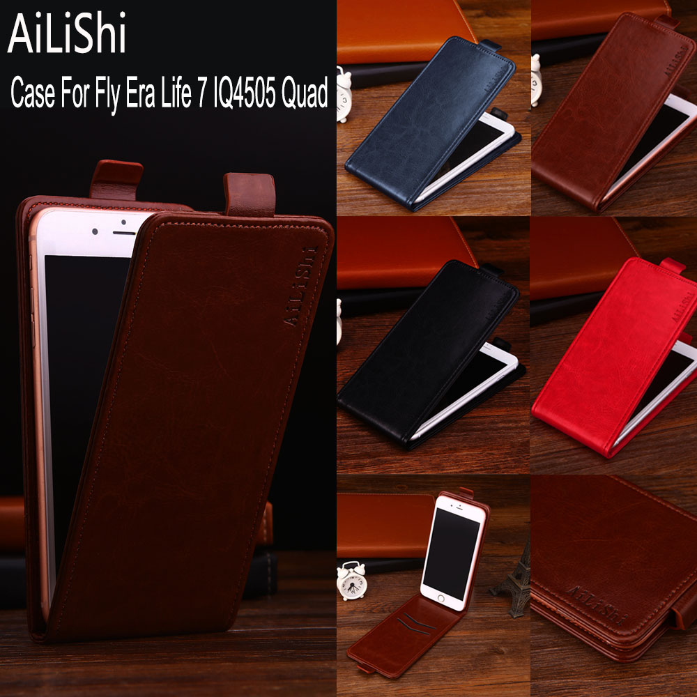 AiLiShi Factory Direct! Case For Fly Era Life 7 IQ4505 Quad Leather Case Flip 100% Special Phone Bag With Card Slot + Tracking