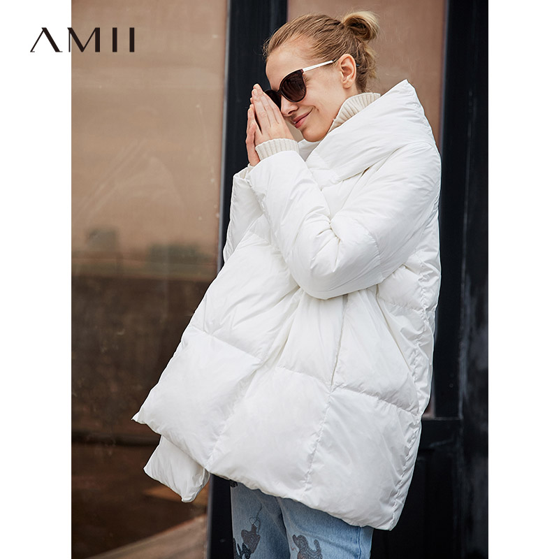 Amii Women Latest Casual Style Long Sleeve Loose 90% White Duck Down Hoodie Puffer Coat