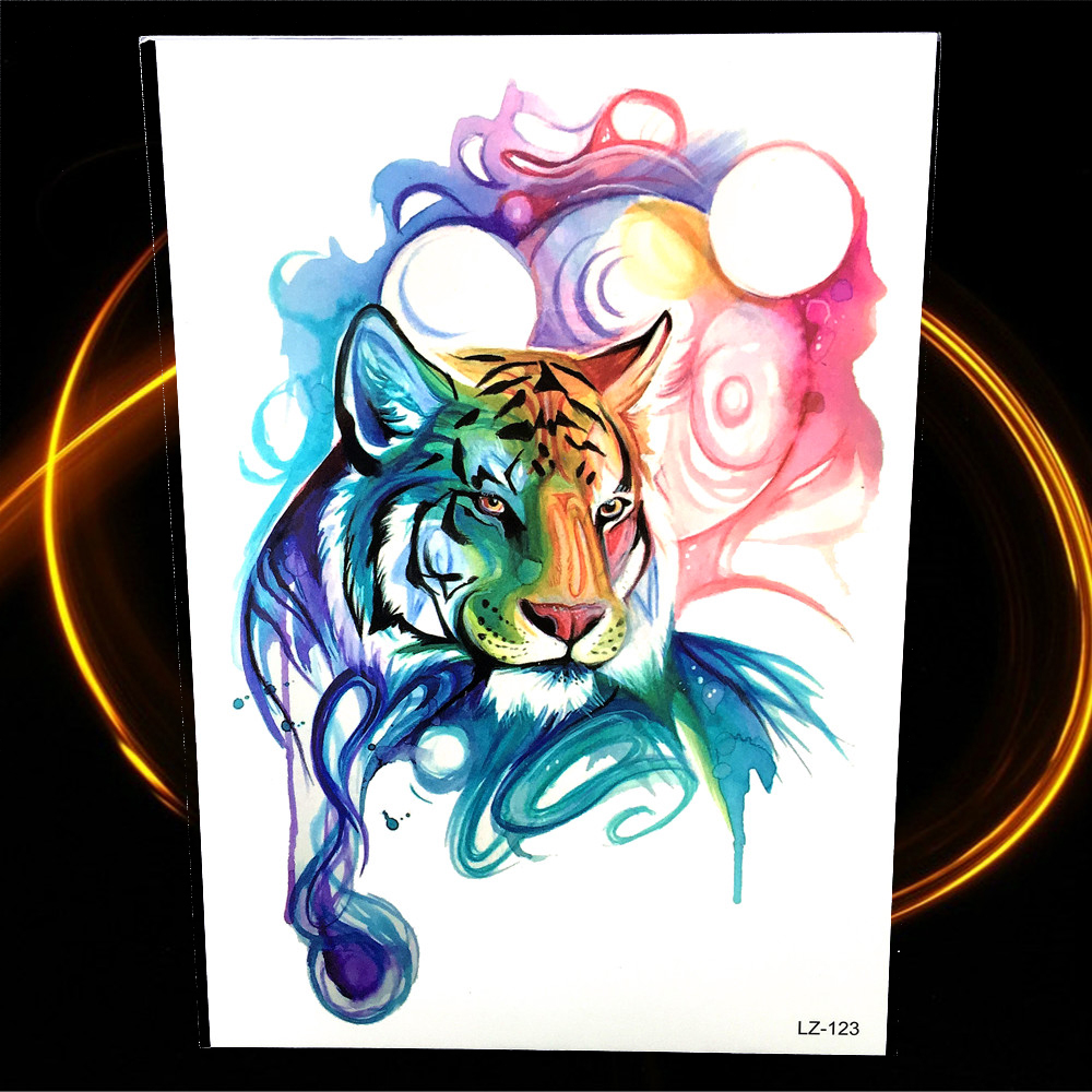 Colorful Tiger Head Design Watercolor Temporary Tattoo For Women Men Body Arm Legs Fake Flash Waterproof Tattoo Stickers Totem