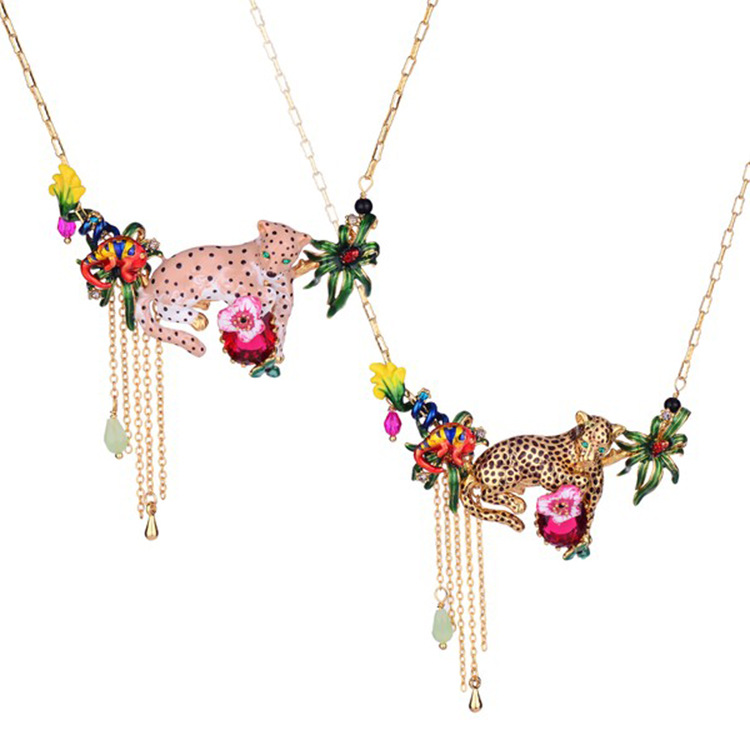 French Jewelry French New Enamel Glaze Pink Gold Leopard Red Gem Tassel Flower Necklace Women rattan square dining tables with cushion and tempered glass
