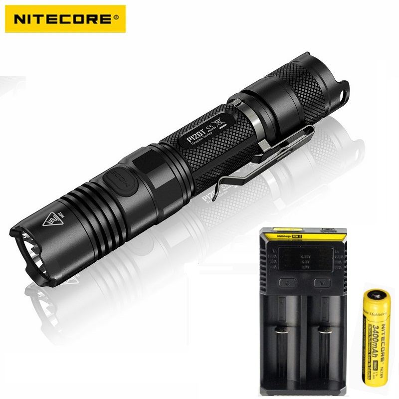 NITECORE P12GT CREE XP-L HI V3 1000LM LED Flashlight 320 meter Torch + New I2 Charger + 18650 3400mAh Battery for Search nitecore p12gt cree xp l hi v3 1000 lumens led flashlight for gear military rechargeable led tactical flashlight torch