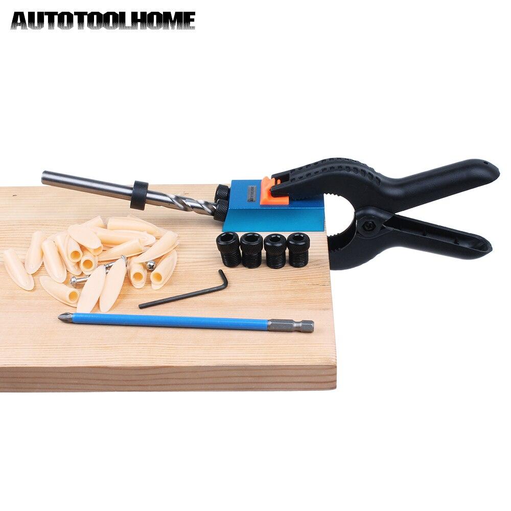цена на Pocket Hole Jig for Kreg Woodworking Clamp 9.5mm 3/8 Step Drill Bit Round Shank with PH2 150mm Screwdriver Bit Pocket Screws