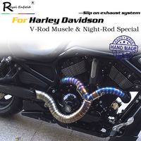 Custom Hand made motorcycle slip on exhaust muffler for Harley Davidson V Rod Muscle Night Rod Special Titanium alloy full pipe