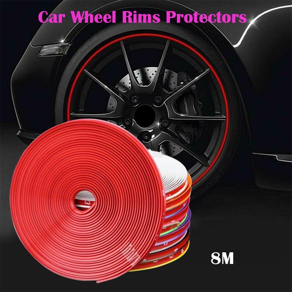 Car Auto Wheel Rim Protectors Rings Sticker Decal Alloy Gators 8 Meter Decor Guard Line Strip Car-styling Adesivo Carro 0.8