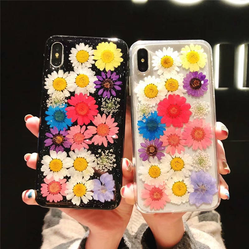 Real Flowers Dried Flower Case For iphone X XR XS Max Slim Transparent Soft TPU Back Cover For iphone 6 6S 7 8 Plus capa coque