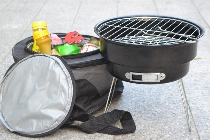 16 New Stainless steel outdoor household couple barbecue brazier charcoal portable mini bbq grill with shoulder cooler bags 1