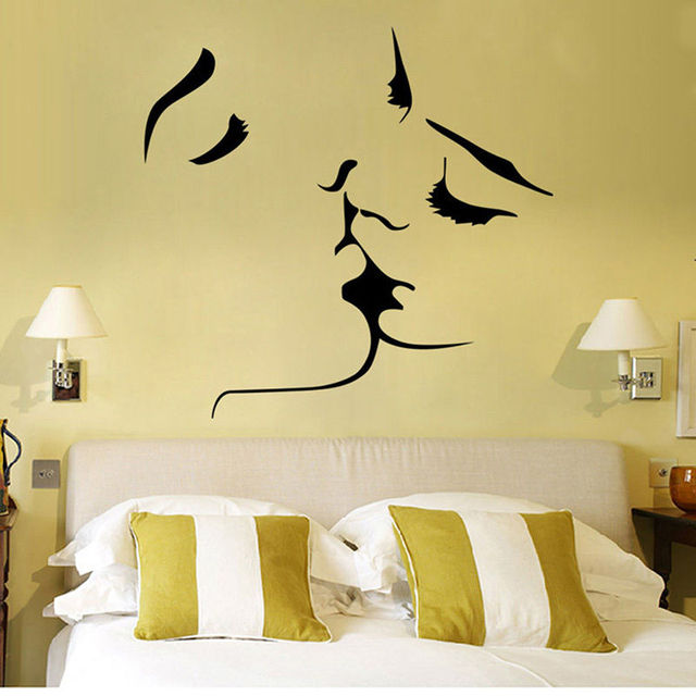Romantic Lover Kiss large wall stickers home decor living room ...