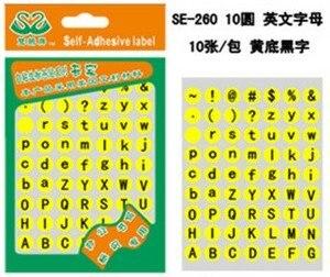 100 компл./лот, Диаметр 10 мм, A до Z капитала и строчные английские буквы и знаки этикетки стикер, арт. of28