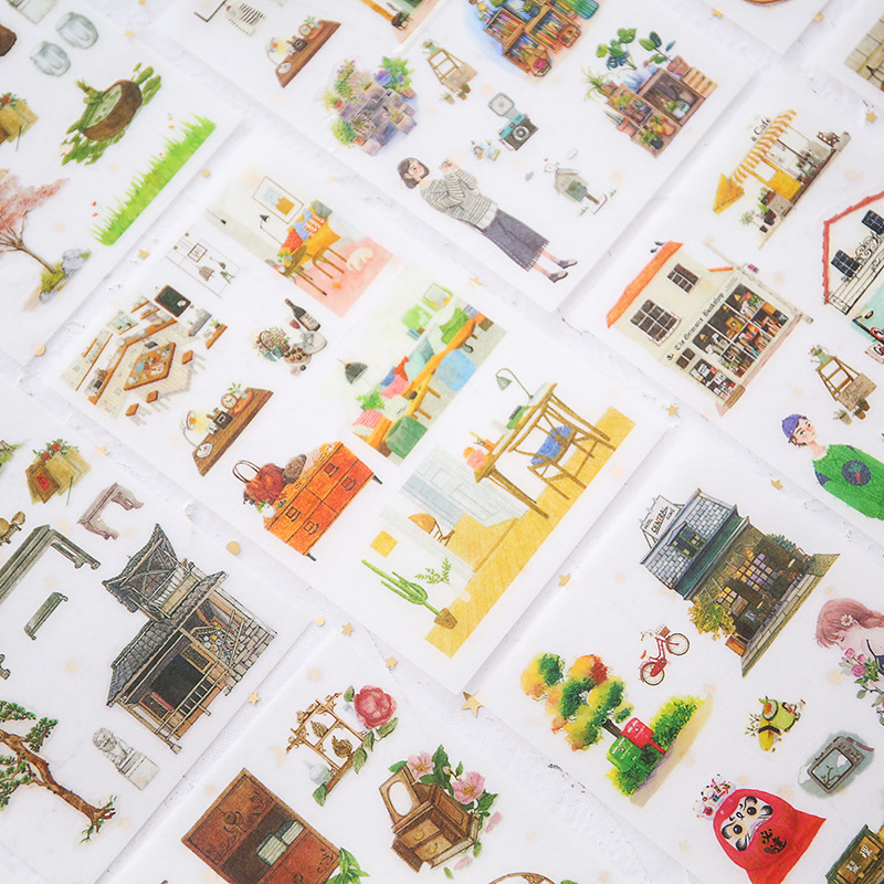 6 Pcs/pack Traditional Life Decorative Stationery Stickers Scrapbooking DIY Diary Album Stick Label