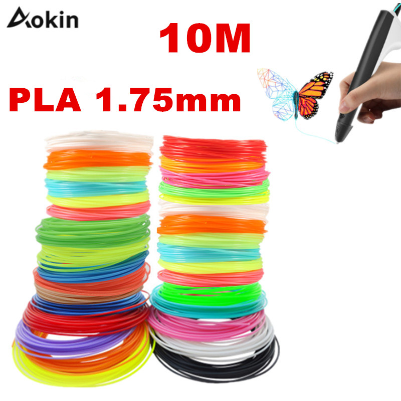 10 Meter Black White Red PLA 1.75mm 3D Printer Filament Printing Materials Plastic For Extruder Pen Accessories Colorful Rainbow