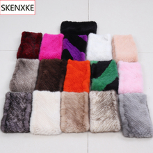 Mulheres Inverno Real Mink Fur Cachecóis Anel Boa Elastic Malha Genuine Mink Scarf Quente Grosso Lady Natural Fur Headband xale