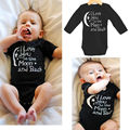 Bodysuit Baby Boys Girls Clothing I Love You To The Moon And Back Black Newborn Baby Babygrow Playsuits Clothes Bodysuits Summer