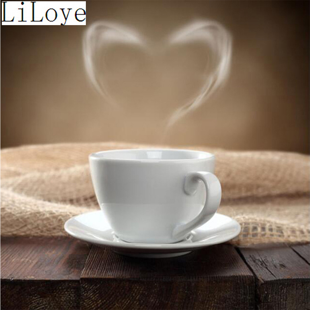 DIY Diamond Painting Cross Stitch Kits Heart-shaped coffee 5D Diamond Mosaic Full Round  ...