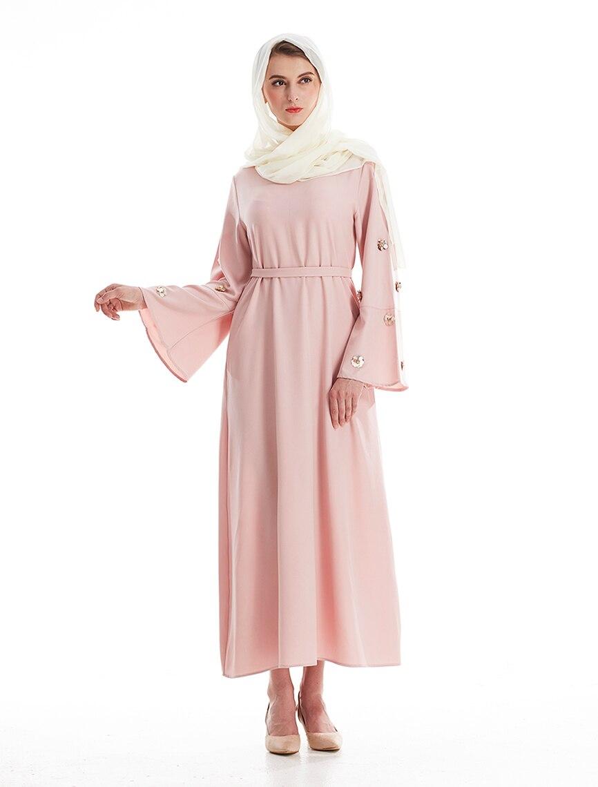 Moda musulmana vestido Maxi abaya cinturón vestidos hijab thobe ...