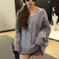 2014 de la venta directa abrigo Real Tricotado otoño e invierno mujeres suelta profunda V cuello engrosamiento suéter prendas de vestir exteriores trenzado de gran