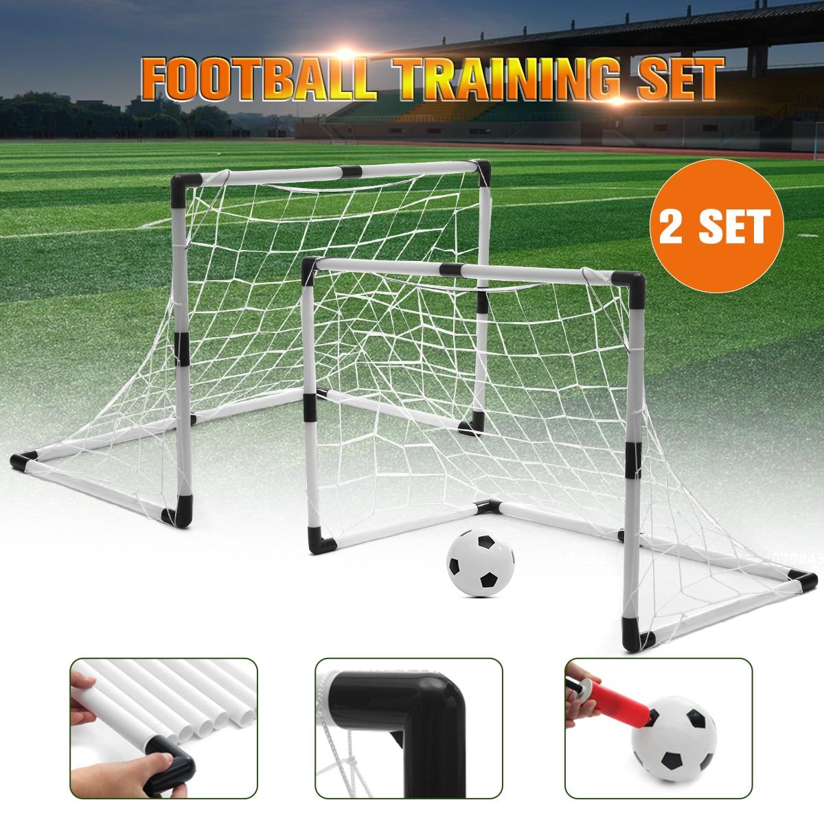 2 Sets Kids Football Soccer Goals Ball Pump Portable Posts