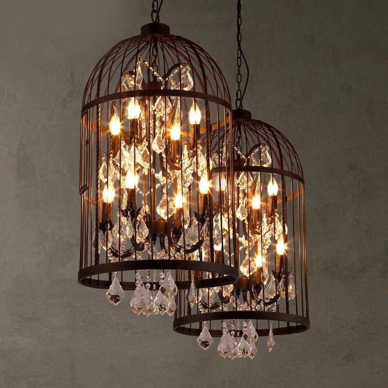 Amerikanischen land vintage eisen vogelkäfig kronleuchter retro villa treppe kristall anhänger lampe home deco rost eisen leuchte