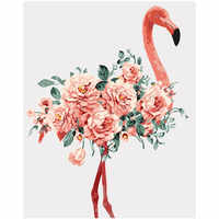 Painting By Numbers DIY Dropshipping 40x50 50x65cm Beautiful peony flamingo Animal Canvas Wedding Decoration Art picture Gift