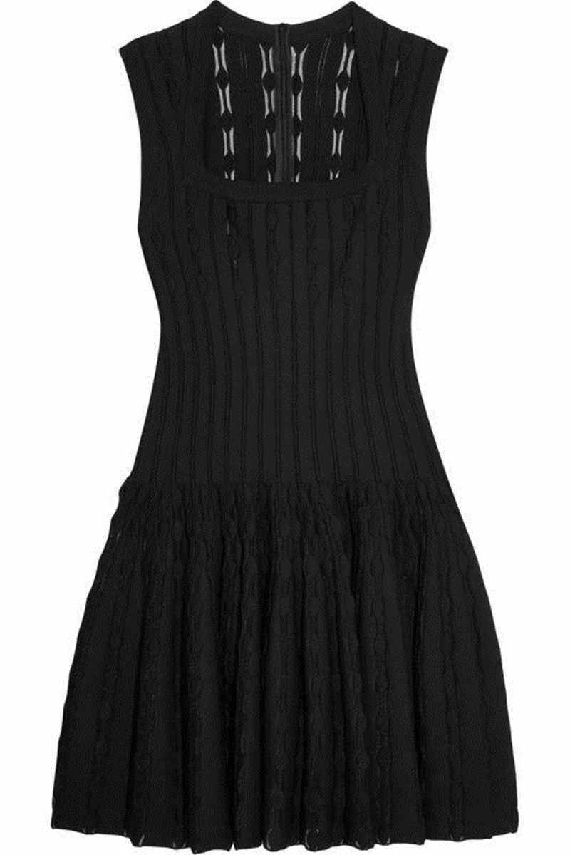 トップ品質ジャカード黒ノースリーブ A ラインプリーツレーヨン包帯ドレスの女性のパーティードレス