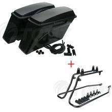 Motorcycle Motorbike Unpainted Black ABS Hard Saddlebags & Conversion Brackets For Harley Softail 1986-2013 2012