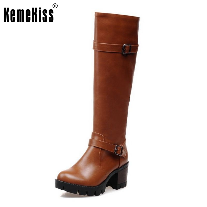 Women High Heel Over Knee Boots Fashion Winter Snow Warm Motorcycle Long Boot Platform Quality Footwear Shoes Size 32-43 lady high heel shoes women over knee boots women s martin winter snow boot warm botas classics fashion footwear shoes size 34 42