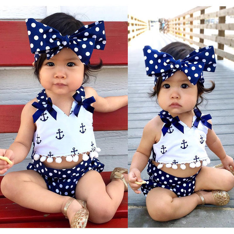 Cute Baby Girls Clothes Sets Anchors Bow Tops + Polka Dot Briefs + Head band 3pcs Sleeveless Outfits Set Baby Girl 0-24 Monthes headband casual romper jumpsuit baby girl clothes gold polka dot cotton sleeveless outfits set baby girl 3 6 9 12 18 24 monthes