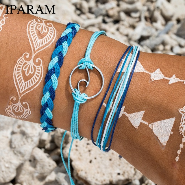 3 יח'\סט 2019 בעבודת יד צבעוני כותנה חבל הגולש צמידי פופולרי Boho בעבודת יד סגולה צמידים וצמידים לנשים גברים
