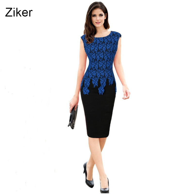 06091fcfab Ziker Brand New Fashion Lace Kobiety Pencil Dress Patchwork Slim Bodycon  Sukienka Na Co Dzień Do Kolan Sukienka Pracuj vestidos S-5XL