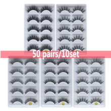 50 pairs 3d mink lashes wholesale Wispy 100% Hand-made Silk Crisscross Thick Charming and Elegant Mink False Eyelashes extension