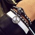 18 мм CZ Micro Titanium Стальные Шарики Браслеты Черепа Браслеты bijoux браслеты Веревку Цепи Природный Камень Браслеты Женщины Мужчины Ювелирные Изделия