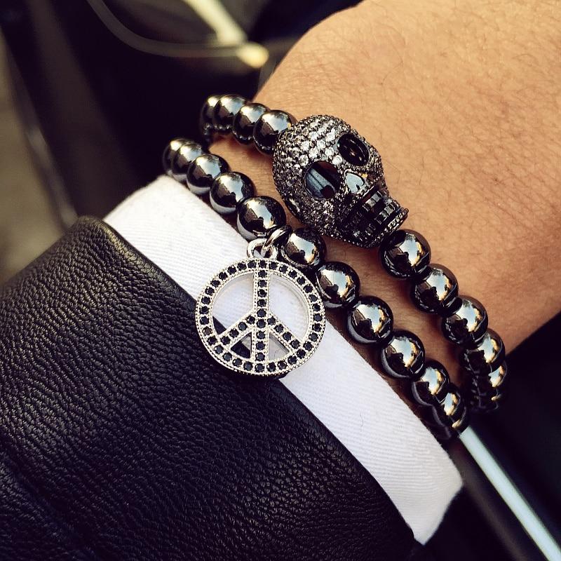 Mcllroy Micro Titanium Steel Beads Bracelets Skull Bangles bs