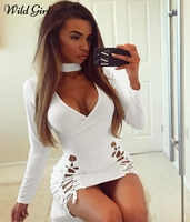 Halter Lace Up Sexy Dress Women Bodycon Deep V Neck Party Dress Long Sleeve Slim Fitness