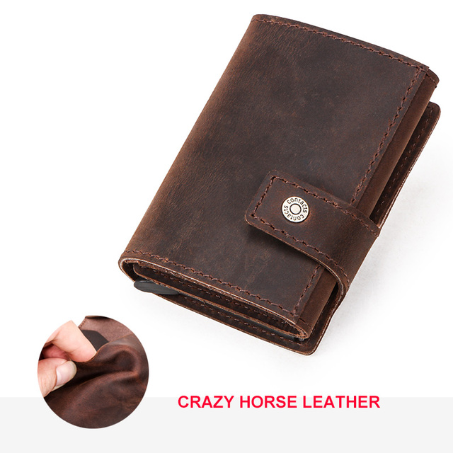 CONTACT'S Crazy Horse leather men wallet RFID Blocking credit card holder Aluminum box Automatic pop up Business Security Purse 1