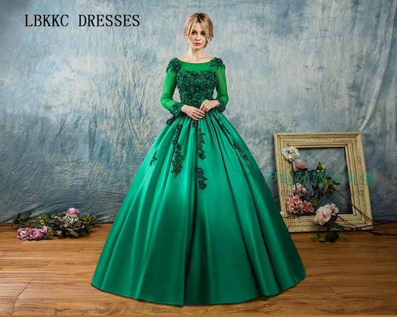 Long Sleeves Quinceanera Dresses Green Red Ball Gown Satin