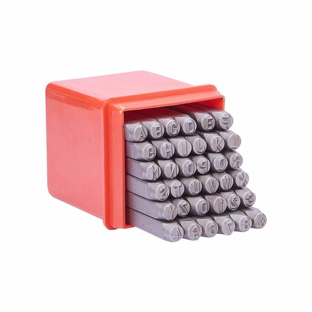 PandaHall 36 unids/caja de hierro negro carta alfabeto A-Z y número 0 ~ 8 sello de sello sellos para la enseñanza jugando fabricación de la joyería herramienta