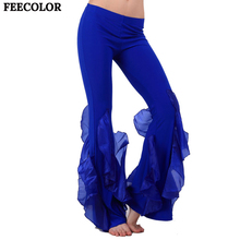 FEECOLOR Women s Belly Dance Pants Bell Cotton Crimping Bottom with fishtail trim For dance practice