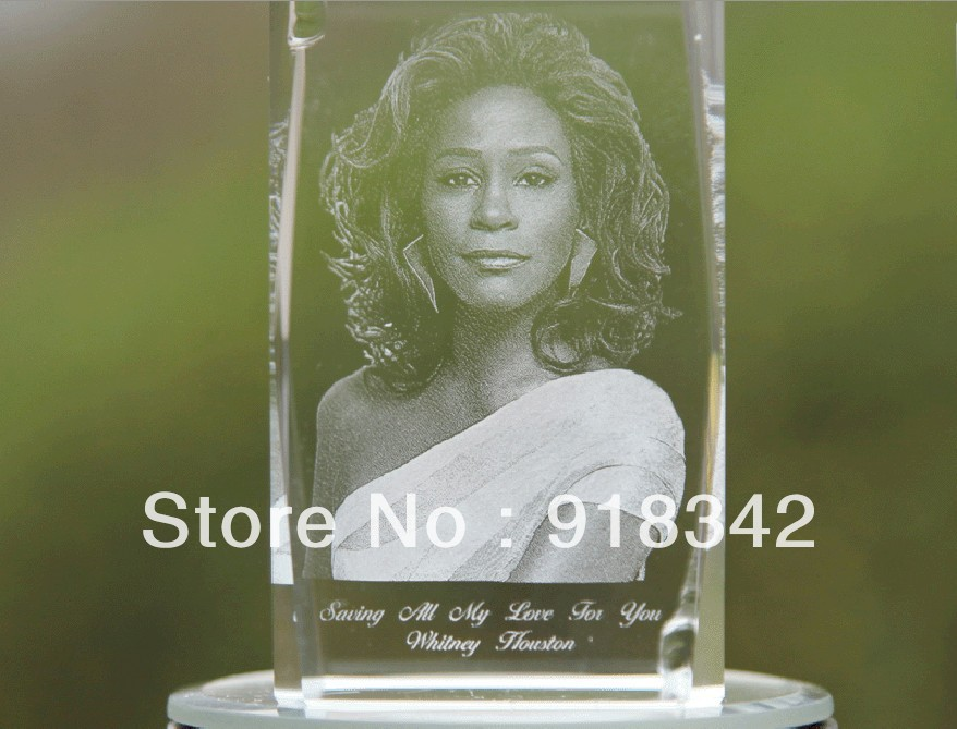 ! Souvenir LED 3D Crystal Photobook Inner Carving - Whitney Houston Home Decoration kunsilane outdoorsport Store store