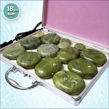 NEW Tontin 18pcs/set green jade body massage hot stone beauty salon SPA tool with heating box 110V or 220V ysgyp-nls massage stone box massageador beauty stone new wholesale electrical heating 220v spa hot energy stone 22pcs set with heat box