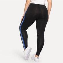 Women's Plus Size Striped Black Running Leggings