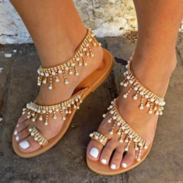 2019 Vintage Boho Sandals Women Leather Beading Flat Sandals Women Bohimia Beach Sandals Shoes Plus Size Summer Fashion Woman