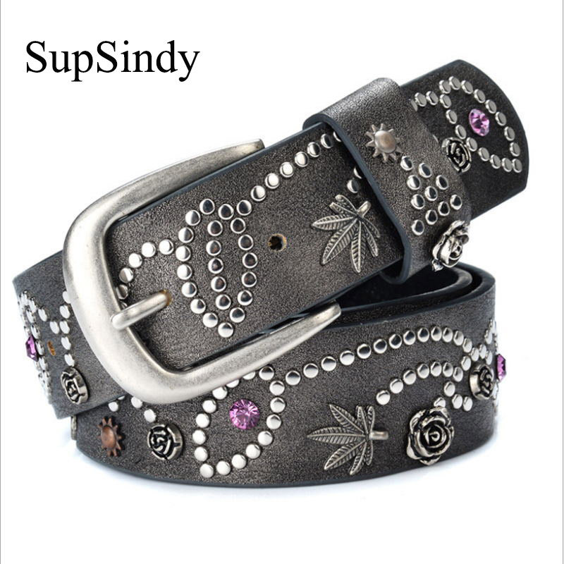 SupSindy woman belts Leaves flowers rivet pin buckle PU belt for women European fashion top quality faux leather strap for jeans