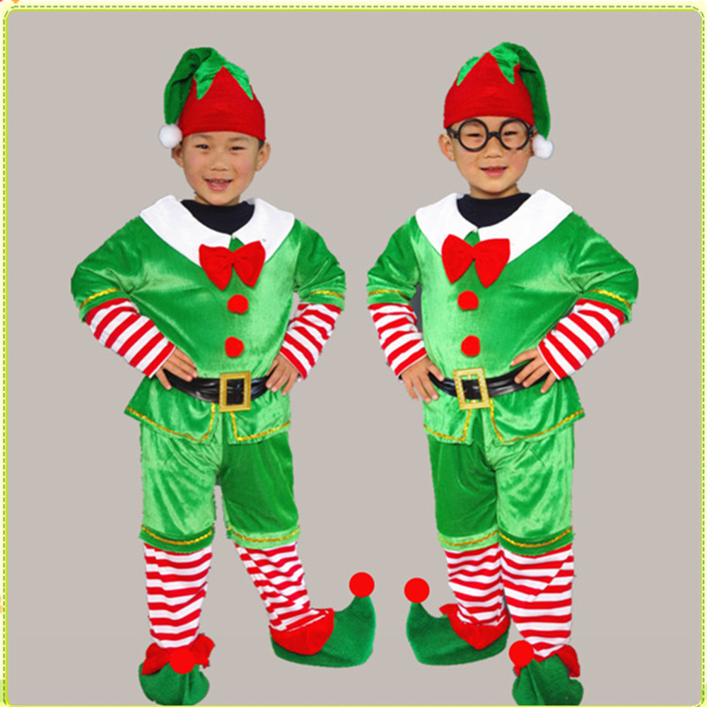 Children's Christmas cosplay Santa Green Elf Costs Kids Tops / Pants / Hats Full Celebration Christmas Happy Performance Costume