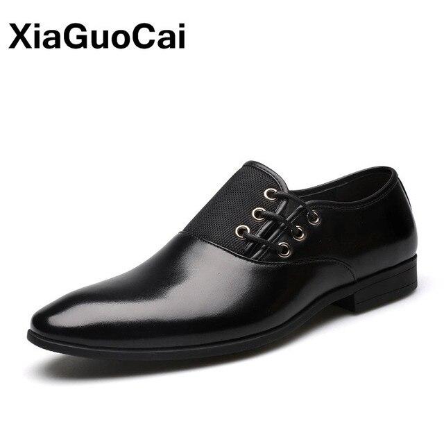 Cộng với Kích Thước Da Người Đàn Ông Ăn Mặc Giày Mùa Xuân Oxfords Cao Chất Lượng Phục Chính Thức Sang Trọng Người Anh Kinh Doanh Chỉ Toe Giày Cưới Cho Nam