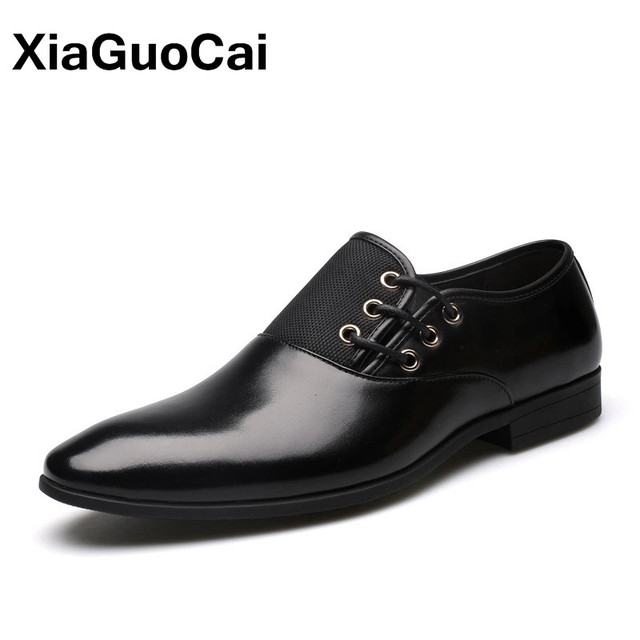 Plus Size Leather Men Dress Shoes Spring Oxfords High Quality Formal Luxury British Business Pointed Toe Wedding Shoes For Male