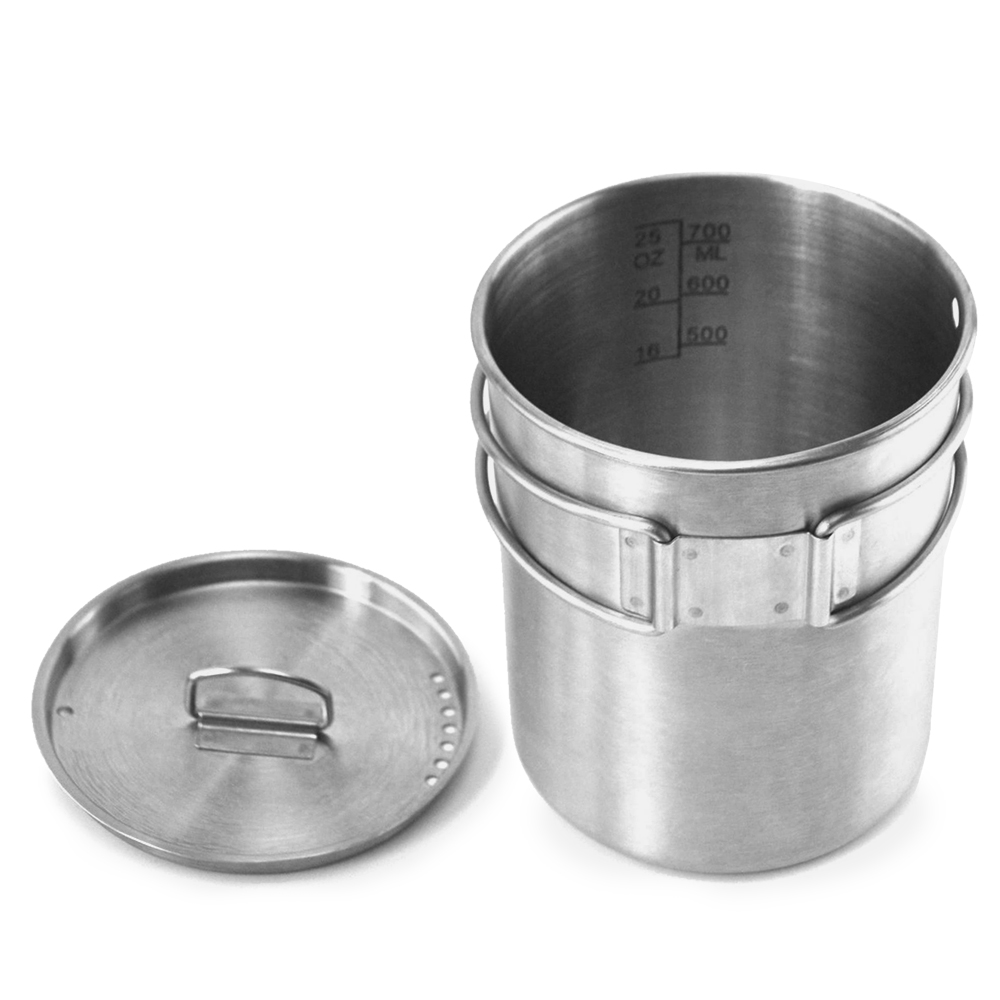 Image 3 - Portable Outdoor Stainless Steel Camping Mug Water Cup with Foldable Handle Outdoor Tableware Camping Hiking-in Outdoor Tablewares from Sports & Entertainment